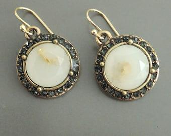 White Opal - Black Diamond Earrings - Rhinestone Earrings - Antiqued Gold Earrings - Bridal Earrings - Wedding Earrings - Art Deco Earrings