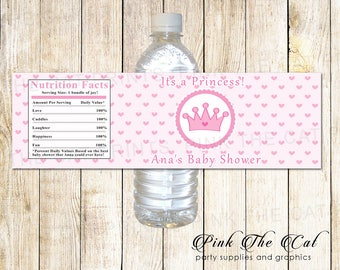 Princess Water Bottle Label, Pink Hearts Princess Bottle Label, Printable Princess Bottle Wrapper Princess Baby Shower Bottle Label Birthday