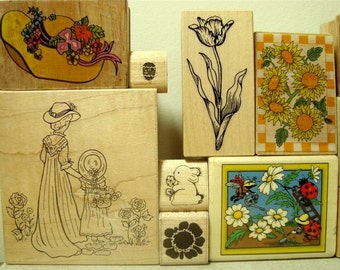 Garden Stamp DeStash Rubber Stamps 13 Spring Flowers Pots Ladybugs Wood Mounted