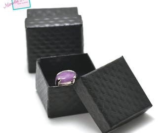 """2 boxes / caskets """"United"""" square ring 55 x 55 x 35 mm, black"""