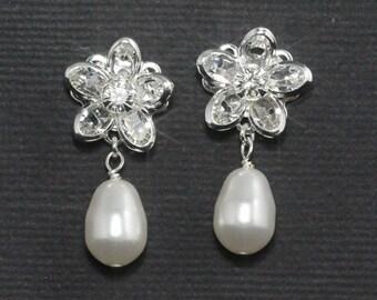 Crystal Bridal Earrings, Wedding Stud Earrings, Flower Crystal Posts, Bridal Jewelry, Pearl Drop Earrings  -- OLIVIA