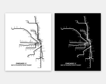 "INSTANT DOWNLOAD - Chicago CTA Map, Chicago Poster, Chicago L Map, Transit Poster, Elevated Train Routes -- 8 x 10"" & 16 x 20"""