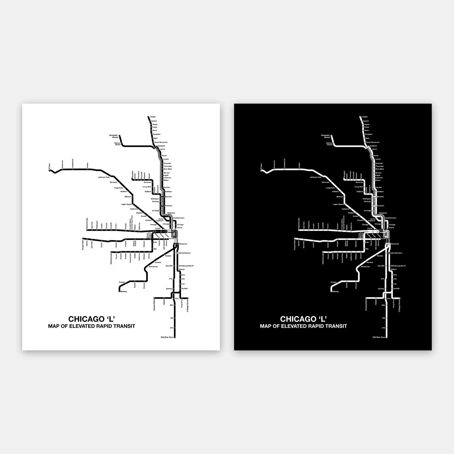 INSTANT DOWNLOAD Chicago CTA Map Chicago Poster Chicago L