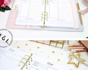 Printed A5 Goal planner, Goal action plan, Productivity planner, Goal tracker, Goal setting, Planner refills, A5 Planner inserts, A5 refill