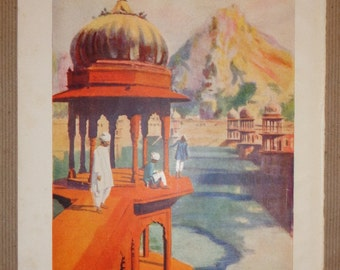 "10"" x 7"" Book Page Picture of The Sacred Tank Ulwar India Vintage 1933"