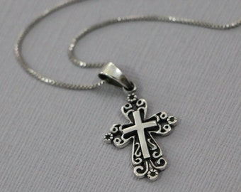 Sterling Silver Cross Necklace, Baptism Necklace, Confirmation Necklace, Baptism Gift, Confirmation Gift, Gift for Her, Gift for Wife