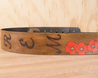 Personalized Acoustic Guitar Strap - Handmade Leather Monogram Guitar Strap with Poppies in Red and Antique brown - Acoustic or Electric