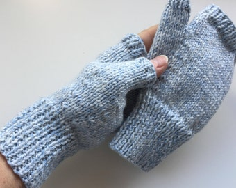 Soft, snuggly, cotton mix, hand knitted fingerless gloves / mittens - size S