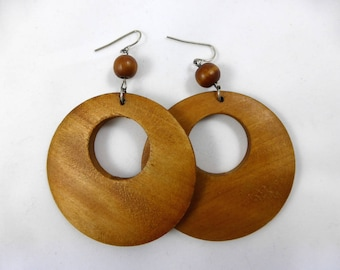 Vintage French Wooden, Hoop Earrings, Vintage Earring, Statement Jewellery