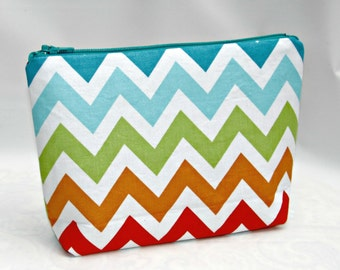 Cosmetic Bag, Makeup Organizer Wallet, Makeup Bag, Zipper Pouch, small makeup bag, Zig Zag Bermuda, Birthday Gift