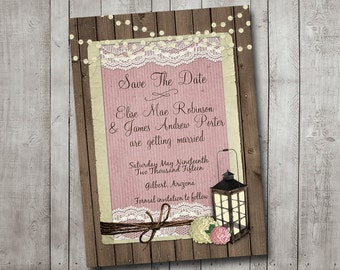 Wedding Save The Date Rustic Lantern Pink Hydrangea Fairy Lights Lace Vintage Printable Customizeable Digital File