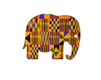 Adhesive Decal Kente Cloth Serengeti Pattern Elephant Sticker - Decal For Car, Decal For Yeti, Sticker For Yeti, Sticker For Car