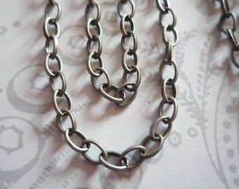 Small Oval Rolo 3X4mm Chain in Antiqued Silver - 60 inches