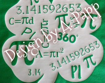 Pi Day Shamrock HTV/ svg INSTANT DOWNLOAD in .jpg, .gif, .png, for use with Silhouette Studio and Cricuit Design Space