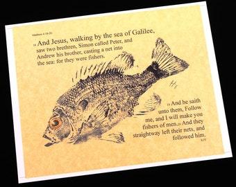 Fishers of men Bible Passage Art... 8 1/2 X11  Cottage Decor GYOTAKU Fish Art Rubbing Art Print Gift for the Clergy