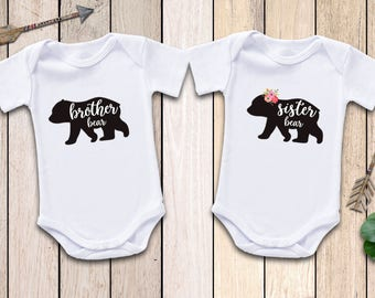Twins Brother Bear Sister Bear Onesies®,  Twins Onesies Boy And Girl, Twins Bear Onesies, Twins Boy Girl Outfit, Twins Outfit