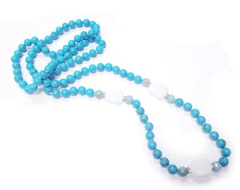 Long Composed Turquoise and Moonstone Endless Necklace