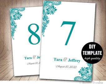 Teal Table Numbers, Wedding Table Card,Frame Insert,Teal Table Card Template Printable,Lace Table Numbers Template, Teal Wedding