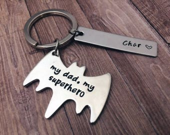 "Gifts for dad keychain ""my dad, my superhero"" - Father's day gift batman name keychain - Batman custom keychain for dad - Father's day gifts"