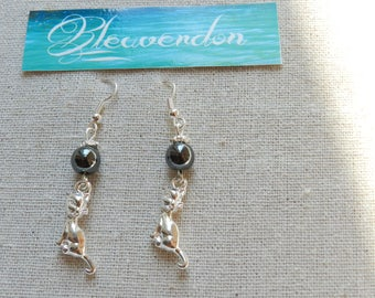 Cats and Hematite earrings