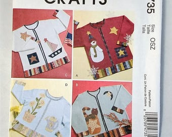 McCall's Crafts M4735 Seasonal Appliques for Sweatshirts Sewing Pattern Uncut 2004