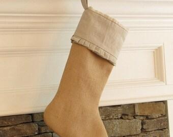 Burlap Linen Christmas Stocking Cuff Ruffle Edge
