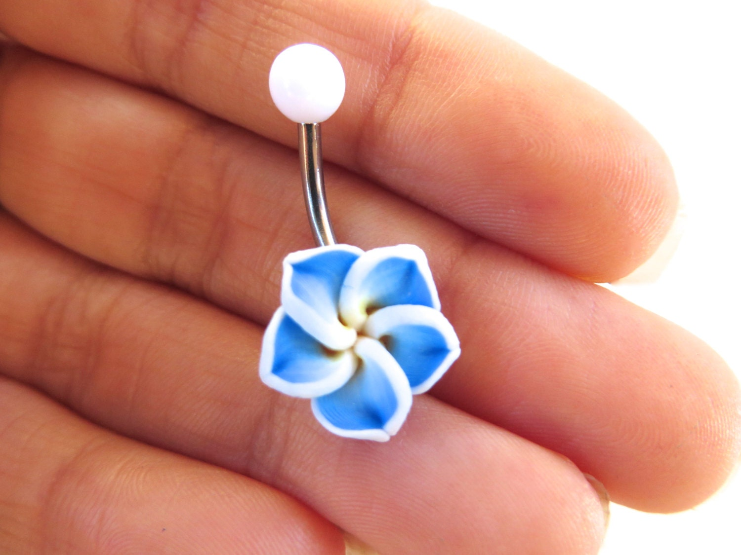 Belly button ring jewelry blue hawaiian flower plumeria belly zoom izmirmasajfo Images