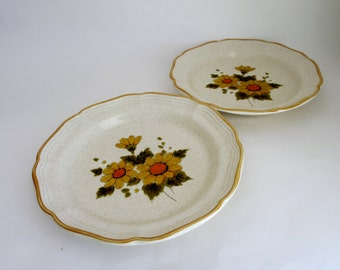 Vintage Salad Plates - Two Mikasa Plates Sunny Side pattern EB 802 -  Yellow Flowers Oven To Table Salad Plate Made in Japan