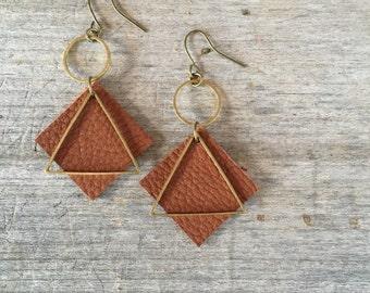 Dark Brown Leather Earrings - Leather Earrings -Boho Earrings - Leather Drop Earrings - Leather Dangle Earrings - Gift for Her - Boho Chic