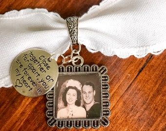 Custom Made Bridal Wedding Bouquet Charms - Square Decorative Blank Pendants with bail and Saying charm - Lead and Nickel Free