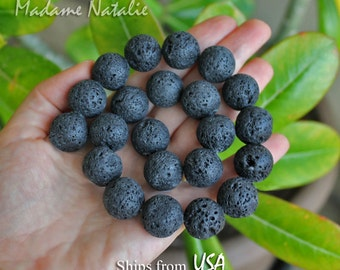 Natural Black Lava Stone Beads 14mm 16mm 18mm, Aromatherapy Beads, Black Lava Round Beads, Essential Oil Diffuser, Lava Beads String 15in