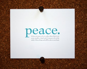 """Set of 10 / Inspirational Cards with Quote """"Peace. It does not mean to be in a place where there is no noise, trouble or hard work..."""""""