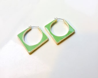 Vintage Green Enamel Earrings - enamel hoop earrings, square earrings, light green vintage enamel earrings, 60s jewelry