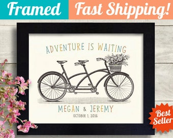 Unique Wedding Gift for Couples Personalized Art Print Adventure Awaits Anniversary Gift Engagement Gift Bicycle Wedding Unusual Gift