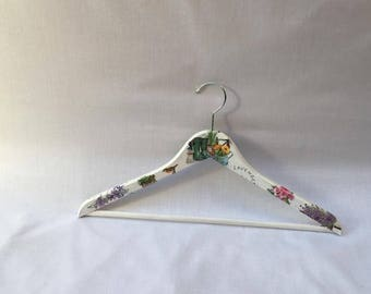Adult Lavender decoupage hanger, Wooden hangers, Clothe hangers, Decoupage, Closet, Adult wooden hangers, Hand made hangers, Perfect Closet