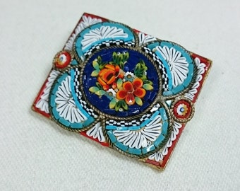 Old Micro Mosaic Brooch Pin, Made in Italy, Grand Tour Souvenir Jewelry