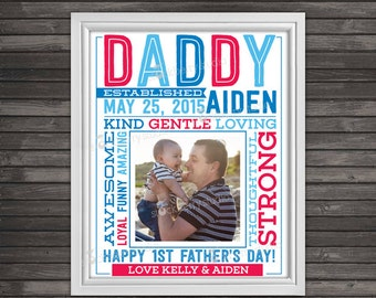 Father's Day Gift - Printable Daddy Established - New Dad Gift - Photo Props - Personalized Father's Day Gift - Custom Sign - Digital File