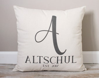 Personalized Last Name Monogram Pillow |  Engagement Gift | Initial with Last Name & Established Date | Wedding Gift Pillow | Couples Gift