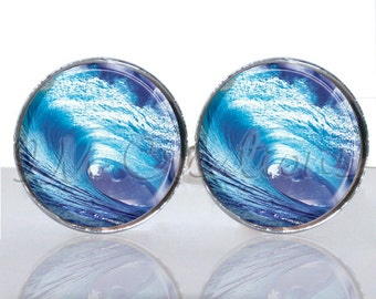 Round Glass Tile Cuff Links - Surfer's Wave CIR134