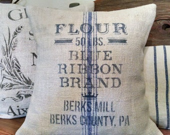 "CountryAntique Hand-Woven Grain Sack 16""x16"" Blue Ribbon Brand Flour Pillow Cover"