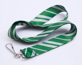 School Stripes Green and Silver Lanyard