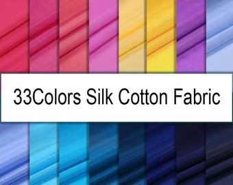 140CM Wide 10-14MM Solid Color Thin Silk Cotton Fabric for Dress Shirt Lining E071