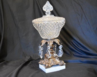 Antique compote with Crystals