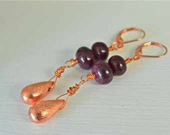 Ruby Earrings Copper Earrings Red Earrings Precious Gemstone Earrings
