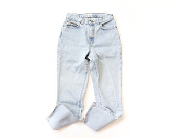 CALVIN KLEIN Jeans High Waisted Denim 90s Pants 1990s Hi Rise Faded Light Blue Worn In TIGHT Fit Medium 29 30 29x29