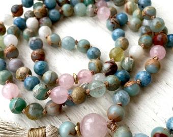 Aquamarine Mala Beads - African Opal mala- Rose Quartz Mala Necklace - Heart Chakra Jewelry - Yoga Gift - 108 Mala Beads, Meditation Beads