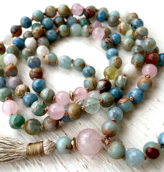 Aquamarine Mala Beads - African Opal mala- Rose Quartz Mala Necklace - Heart Chakra Jewelry - Yoga Gift - 108 Mala Beads, Meditation Beads