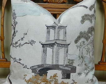 Regal R-ZEN In PEARL-Decorative Throw Pillow Cover Euro Pillow Cover Asian Chinoiserie Pagoda Made to Order