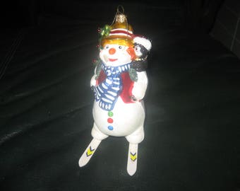 Ceramic Snowman on Snow Skis Tree Ornament / Christmas Holiday Decoration
