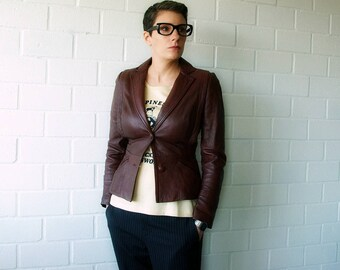 nipped waist brown leather jacket | leather jacket women | vintage brown jacket xs | 1211021